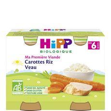Hipp bio ma première viande carotte riz veau 2x190g 6 mois