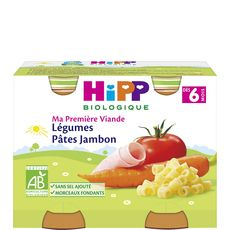 HIPP Hipp bio légumes pâtes jambon 2x190g dès 6mois