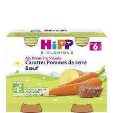 Hipp bio carotte pommes de terre boeuf pots 2x190g dès 6mois