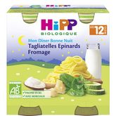 HiPP mon dîner tagliatelle épinard fromage 2x250g 12mois
