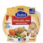 Auchan Baby assiette petits pois et veau 230g dès 12mois