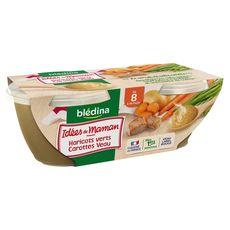 BLEDINA Blédina idées maman haricot vert carotte veau 2x200g 8 mois