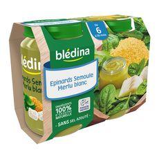 BLEDINA Blédina Petit pot épinards semoule merlu blanc dès 6 mois 2x200g 2x200g