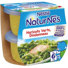 Nestlé Naturnes bol haricots verts et dindonneau dès 6 mois 2x200g