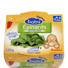 AUCHAN Auchan baby bol premiers repas épinards 120g dès 4-6 mois