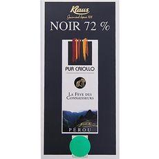 Eqi Klaus chocolat noir bio 72% de cacao 100g