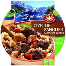 CUISINE DES PYRENEES Civet de sanglier et pâtes torsadées 1 personne 300g