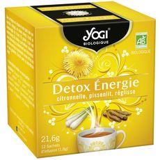 YOGI Infusion bio détox énergie, citronnelle pissenlit réglisse 12 sachets 21,6g