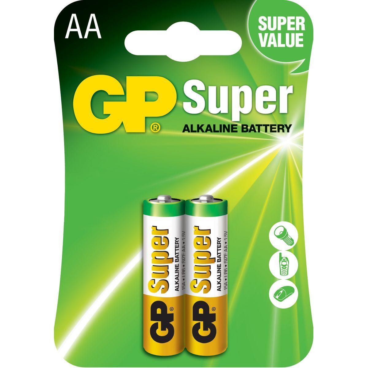 15AE-2U2 - Lot de 2 Piles AA Super Alcaline