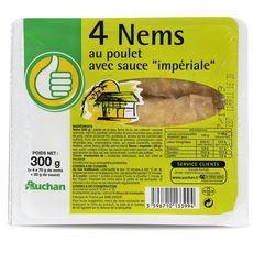 AUCHAN ESSENTIEL Nems au poulet avec sauce impériale 4 pièces 300g