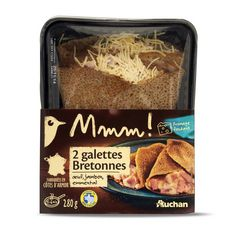 AUCHAN MMM! Galette bretonne à l'oeuf, au jambon et à l'emmental 2 pièces 280g