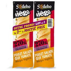 Sodebo sandwich mega baguette poulet 2x270g dt 50% sur 2ème