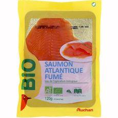 AUCHAN BIO Saumon fumé d'Atlantique 4 tranches 120g