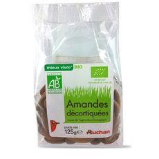 Auchan amande décortiquée bio 125g