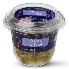 Auchan Olives vertes dénoyautées à l'ail 150g