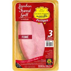PETITGAS Jambon fumé spécial grill à poêler 3 tranches épaisses 300g