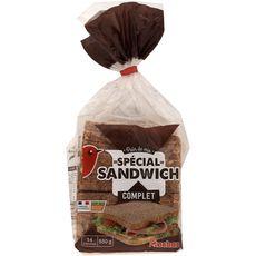Auchan Pain de mie spécial sandwitch complet sans huile de palme 550g