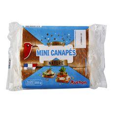 AUCHAN Mini canapés nature 3x20 tranches 255g
