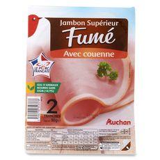 AUCHAN Auchan Jambon supérieur fumé avec couenne 2 tranches 90g 2 tranches 90g