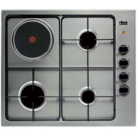 FAURE Table de cuisson mixte FGM63444XA - 1 foyer électrique et 3 foyers gaz