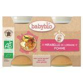 Babybio mirabelle lorraine pomme aquitaine 2x130g dès 4 mois