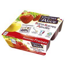 Charles & Alice pomme fraise sans sucre ajouté 4x100g