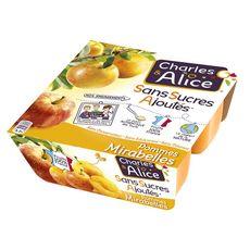 Charles & Alice pomme mirabelle sans sucre ajouté 4x100g