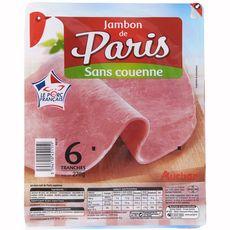 AUCHAN Jambon de Paris sans couenne 6 tranches 270g