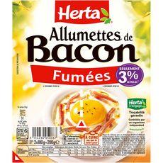 HERTA Allumettes de bacon fumées 3% de matière grasse 2x100g