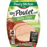 Fleury Michon rôti de poulet tranche x4 -160g