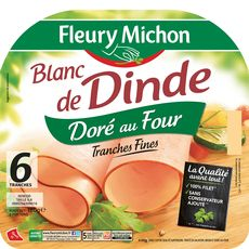 Fleury Michon Blanc de dinde doré 6 tranches fines 180g