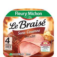 Fleury Michon Le Braisé Jambon doré au four sans couenne 4 tranches 160g