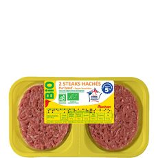 Auchan steaks hachés 5%mg bio x2 - 250g