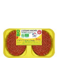 Auchan steaks hachés 15%mg bio x2 - 250g