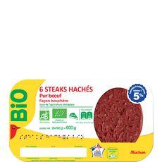 Auchan steaks hachés 5%mg bio x6 - 600g