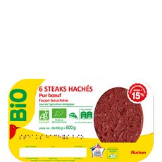Auchan steaks hachés 15%mg bio x6 - 600g