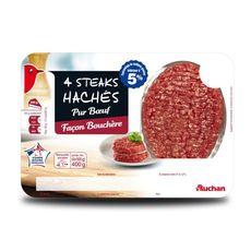 Auchan steak haché façon bouchère 5% 4x100g