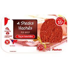 Auchan steaks hachés façon bouchère 15%mg 4x100g