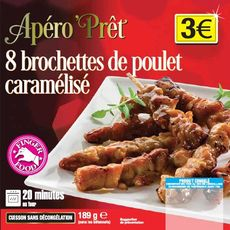 Apéro'Prêt brochette de poulet x8 -189g