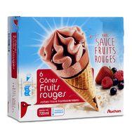 Auchan cônes aux fruits rouges x6 -427g