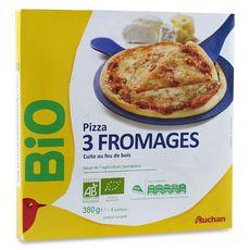 AUCHAN BIO Pizza cuite au feu de bois 3 fromages 380g