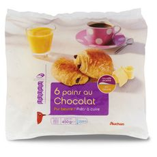 AUCHAN Pain au chocolat 6 pièces 450g