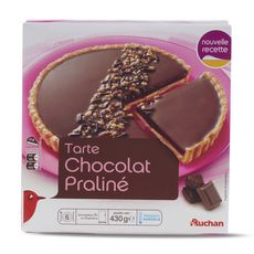 AUCHAN Tarte chocolat praliné 6 parts 430g