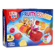 AUCHAN RIK & ROK Rik & Rok Fruity Colors bâtonnet glacé aux fruits x8 -320g 8 pièces 320g