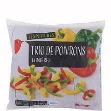 AUCHAN Trio de poivrons crus 3 portions 450g