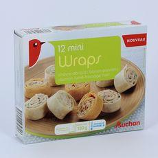 AUCHAN Mini wraps chèvre saumon bacon fromage 12 pièces 130g
