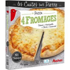 AUCHAN Pizza cuite sur pierre aux 4 fromages 370g