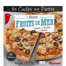 AUCHAN Pizza cuite sur pierre aux fruits de mer 400g