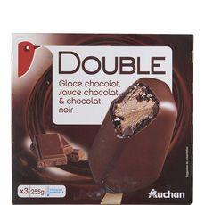 Auchan bâtonnets glace chocolat double chocolat x3 -254g