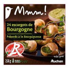 AUCHAN MMM! Escargot de Bourgogne label rouge préparés à la Bourguignonne 24 pièces 285g